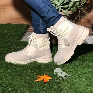Retro Cream High Top Lace Up Sneaker Boot